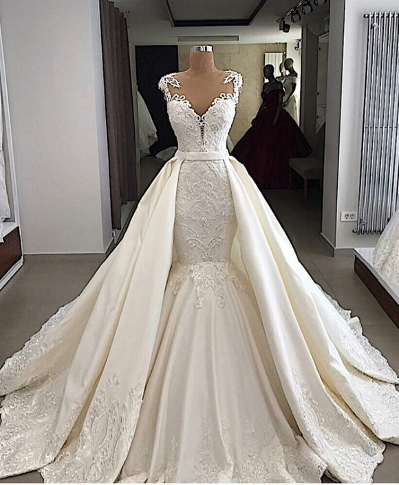 High-End Crystal Beads Lace Mermaid Wedding Dresses - little-darling-fashion-online