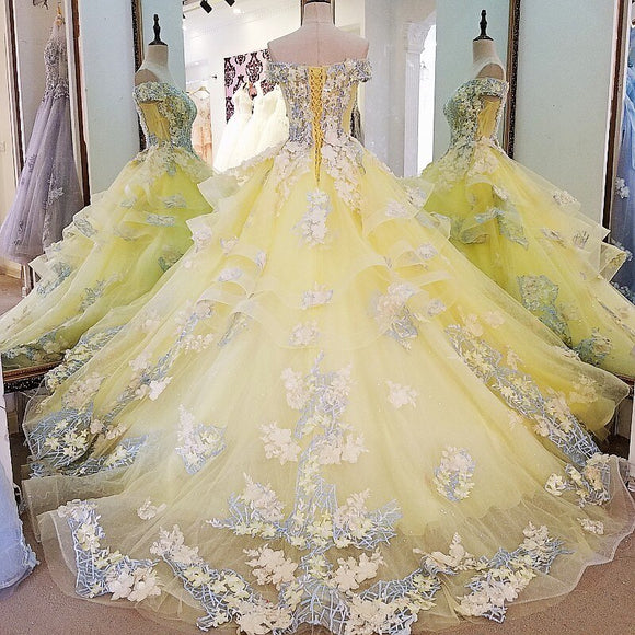 Organza Yellow Blue Ivory Beaded Ball Gown - little-darling-fashion-online