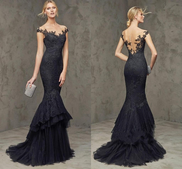 2019 Black Sleeveless Lace Mermaid Formal Prom Dress - little-darling-fashion-online