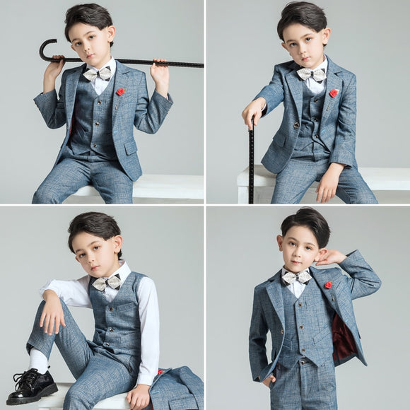 Children's 5/6 Piece Formal Suit for Wedding - little-darling-fashion-online