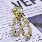 Luxury Heart Shaped Yellow Zircon Stone Ring Set by PickAProduct