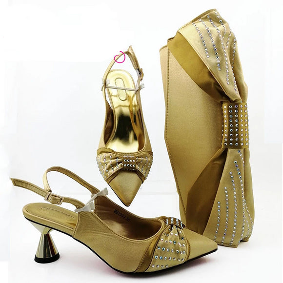 Decorated Italian Women's Shoes and Bag Set - little-darling-fashion-online