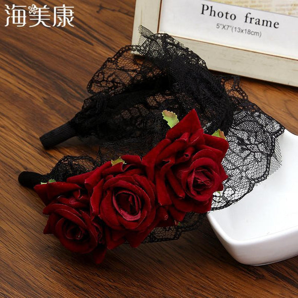 Haimeikang New Rose Flower Lace Tiaras Crowns Headband Black Vintage Lolita Style Easter Girls Festival Women Hair Accessories
