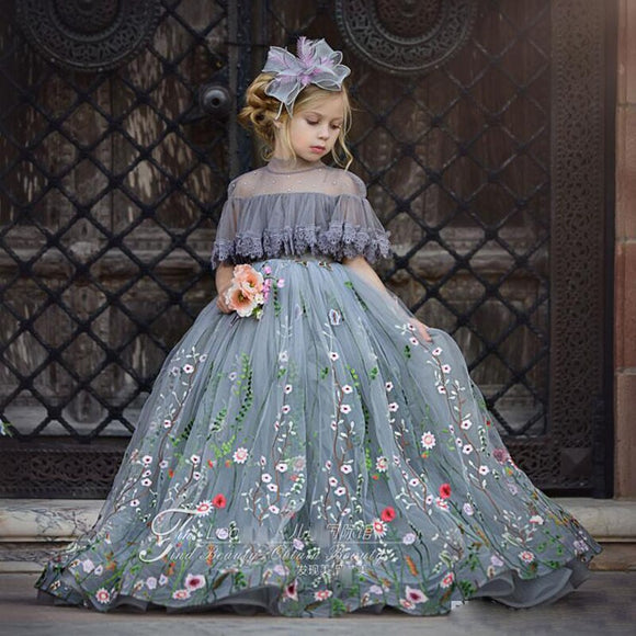 Cute Embroidery Gray Tulle Ball Gown Flower Girl Dress by PickAProduct