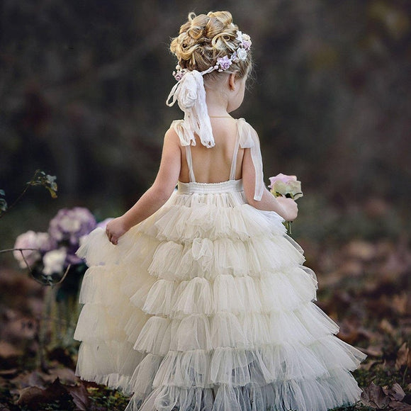 Tiered Backless Ivory Flower Girl Holy Communion Dress by PickAProduct