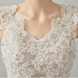 Romantic Tiered Beaded Lace Robe de Mariage by PickAProduct
