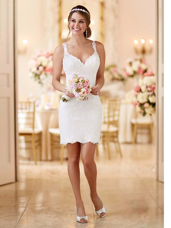 Fashionable V-Neck Lace Button Back Short Bridal Dress by PickAProduct