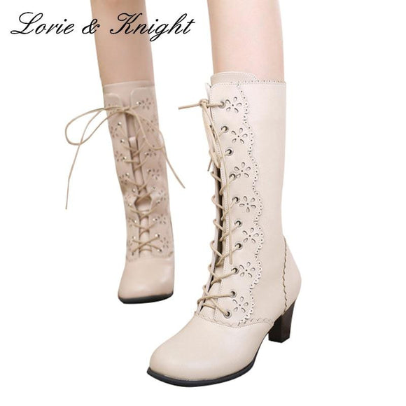 High End Ruffle Trim Lace-Up Bow Princess Boots by Pick a Product