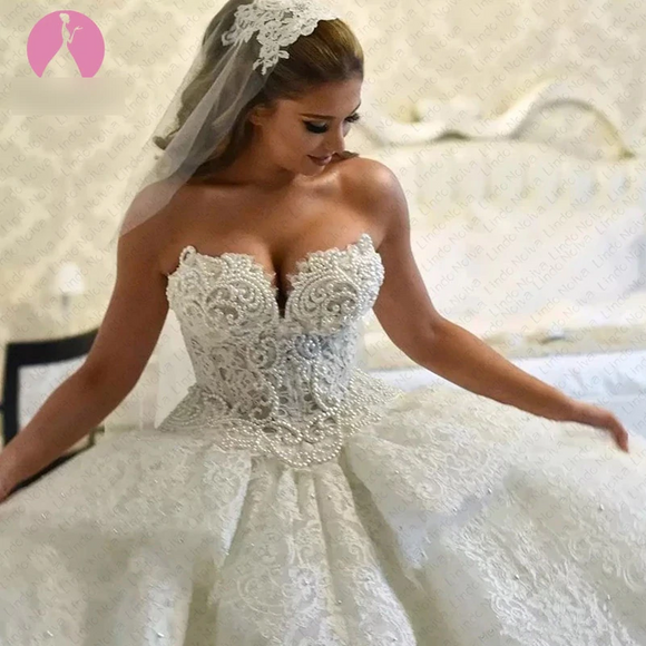 High-End Dubai Luxury Lace with Pearls Wedding Dress