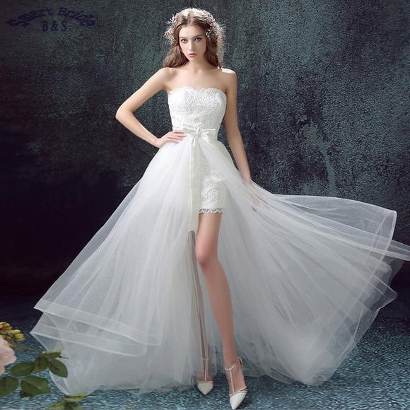 Lace Country Wedding Dresses With Detachable Train High Low Short