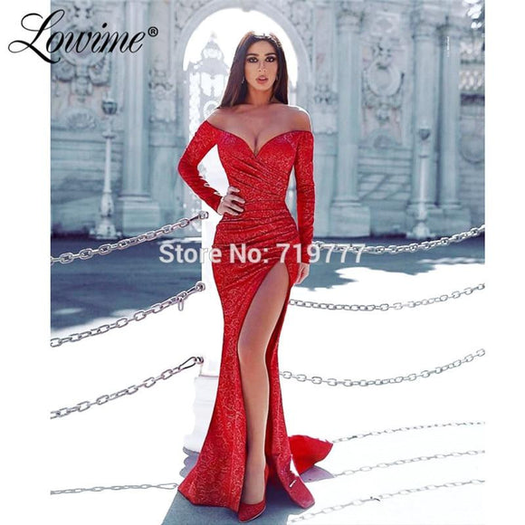 High Side Slit Red V Neck Prom Dresses 2019 - little-darling-fashion-online