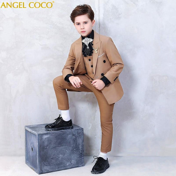 Spring Autumn Khaki British Style Boy Suit - little-darling-fashion-online