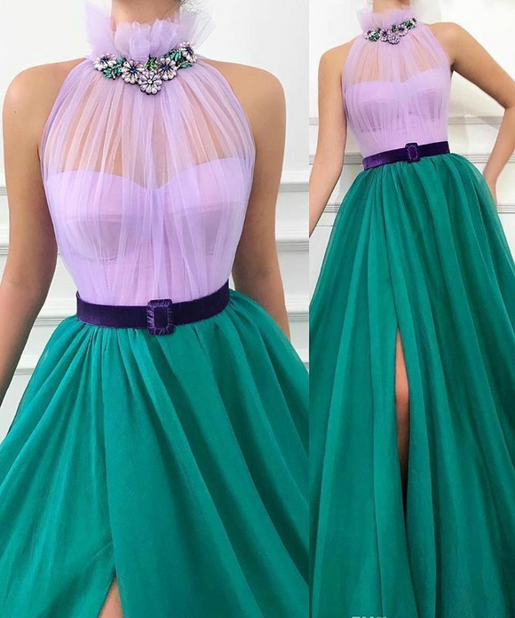 High Neck Green and Purple Tulle A-Line Evening Dress by PickAProduct