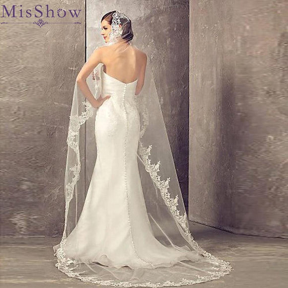 Hot Sale 2019 Wedding Veil Lace with Comb - little-darling-fashion-online