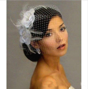 Hot Sale Bird Cage Veil Wedding Veil Birdcage Veil Netting Face Short Feather Flower White Fascinator Bride Hats with Veil - little-darling-fashion-online