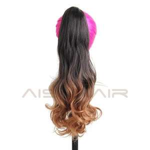 I's a wig 19 inches Long Ponytail Clip in Pony tail Hair Extensions Claw on Hair piece Wavy Ombre Synthetic Fiber - little-darling-fashion-online