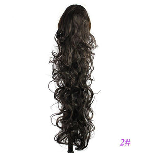 "I's a wig 26"" 210g 18 Colors Long Wavy High Temperature Fiber Synthetic Hair Pieces Claw Clip Ponytail Extensions for Women - little-darling-fashion-online"