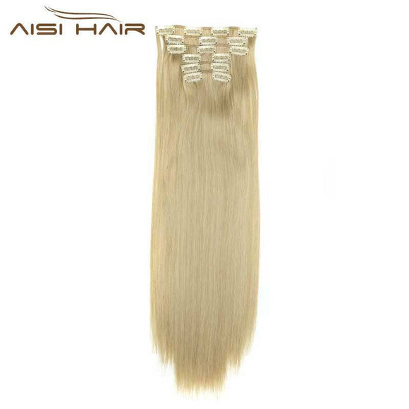 I's a wig Blond  Synthetic  Clips in Hair Extension Long Straight 22