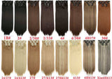 "I's a wig Blond  Synthetic  Clips in Hair Extension Long Straight 22"" 140g 16 Clips False Hair pieces  Brow Black White Color"