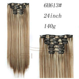 "I's a wig Blond  Synthetic  Clips in Hair Extension Long Straight 22"" 140g 16 Clips False Hair pieces  Brow Black White Color - little-darling-fashion-online"
