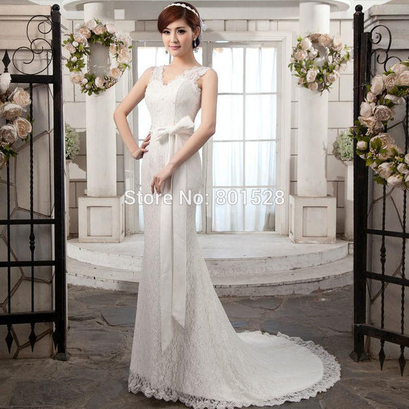 Romantic V Neck Lace Mermaid Wedding Dress by Pick a Product
