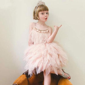 Crystal Feather Flower Girl Dress - little-darling-fashion-online