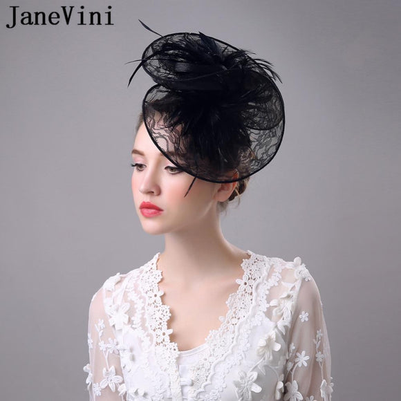 JaneVini 2018 High Quality Lace Feathers Fascinator Hats Womens Wedding Bridal Hats Flower Evening Party Hair Headwear White - little-darling-fashion-online