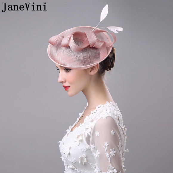 JaneVini Vintage White Black Pink Wedding Bridal Hat Flower Outside Holiday Feather Womens Hats And Fascinators With Hairpin - little-darling-fashion-online