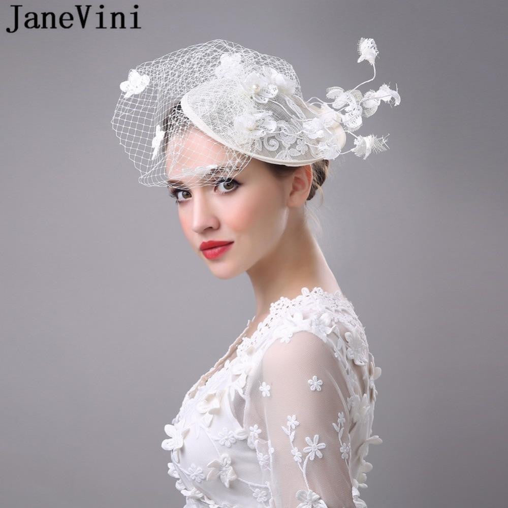 JaneVini Womens Wedding Bridal Hat Flower Birdcage Veils Hat Fascinator  Hats Evening Party Lace Fascinators Hoedjes ... 1cfff3f1f3b
