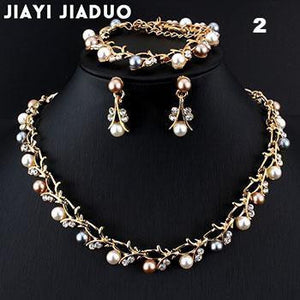 Jiayijiaduo Hot Imitation Pearl Wedding Necklace Earring Sets Bridal Jewelry Sets - little-darling-fashion-online
