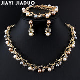 Jiayijiaduo Hot Imitation Pearl Wedding Necklace Earring Sets