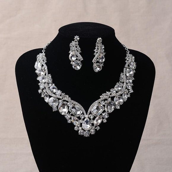 KMVEXO Gorgeous Silver Geometric Crystal Bridal Jewelry Sets