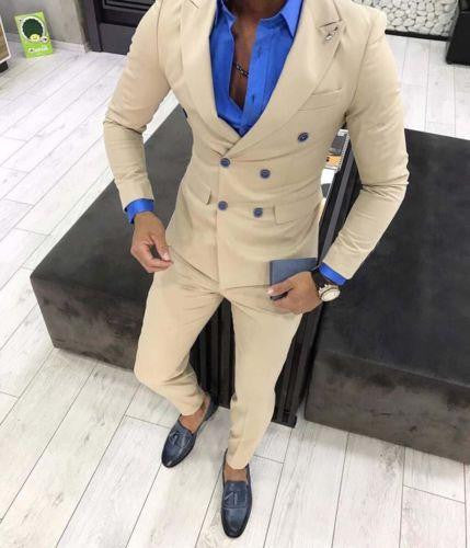 Khaki Slim Fit Mens Suits 2 Piece 2019 Business Suit