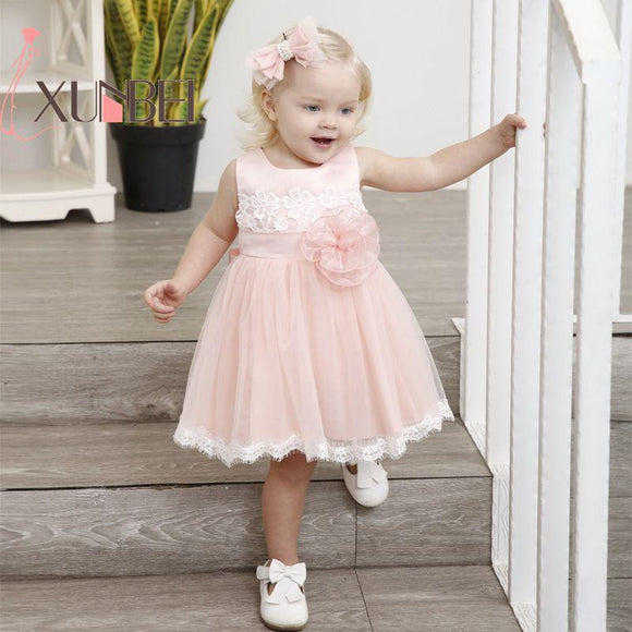 Knee Length Cute Lace Flower Girl Dresses 2018 Pink Baby Girls Dresses First Communion Dresses Sash Evening Party Gown