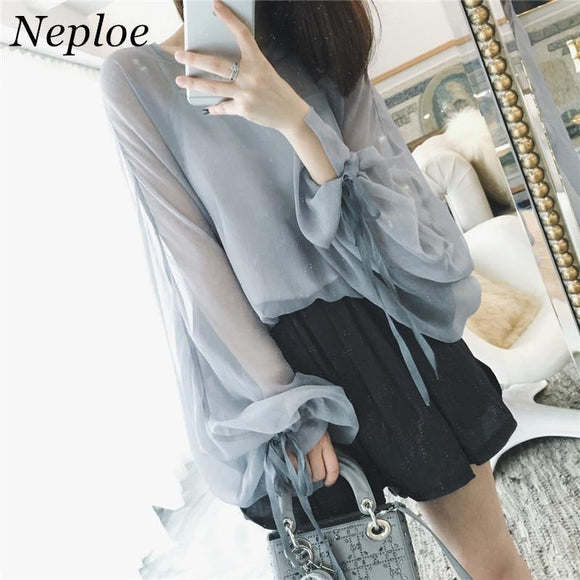 Korean Lace Up Long Sleeve Chiffon Women Blusa New Fashion Solid Blouse Casual Loose Perspective Two Piece Set Tops 64806