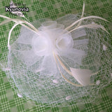 Kyunovia Bridal Net Feather Hats White Hat Veil Bridal Flower Feathers Fascinator Bride Face Veils Wedding bride Hats FH57