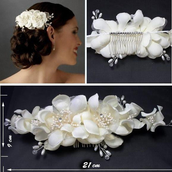 Kyunovia Factory Price High Quality European Style Hand made Wedding Flower Hat As the Wedding Photos Bride Headwear FW60