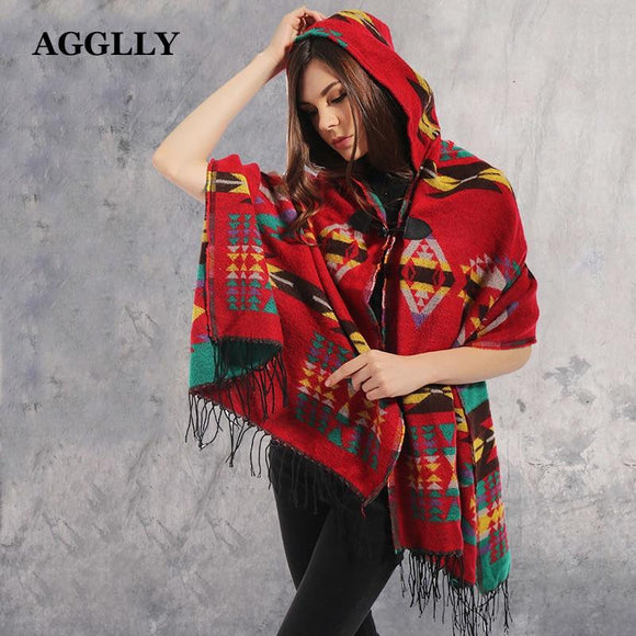 Ladies Warm Winter Hooded Wrap Poncho Lush Cape,Mantle Ponchos And Capes Aztec Outwear Casacos Femininos Tippet Ponchos Or Capes