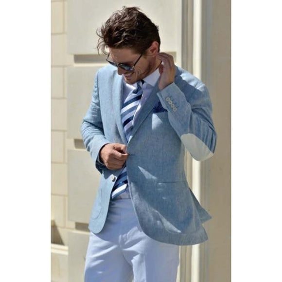 Latest Blue Linen Jacket White Pant Groom Tuxedo by Pick a Product