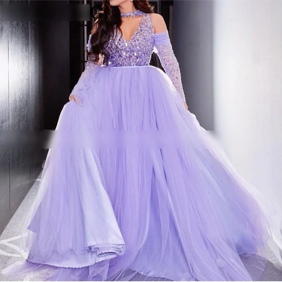 Robe de soiree Elegant Arabic Light Purple Ball Gown - little-darling-fashion-online