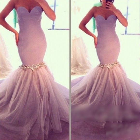 Sweetheart Vestido Long Crystal Lavender Prom Gown - little-darling-fashion-online