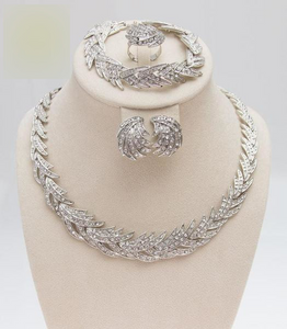 Leaves Shape Silver Plated Clear Crystal Jewelry Set - little-darling-fashion-online