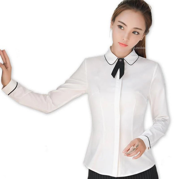 Lenshin Bow Tie Shirt Female Elegant White Blouse Cover Button Office Lady Work Wear Long Sleeve Slim Formal Women Tops - little-darling-fashion-online