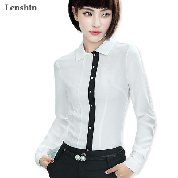 Lenshin Soft and Comfortable Shirt Breathable White Blouse Women Female Wear Casual Style Office Lady Tops
