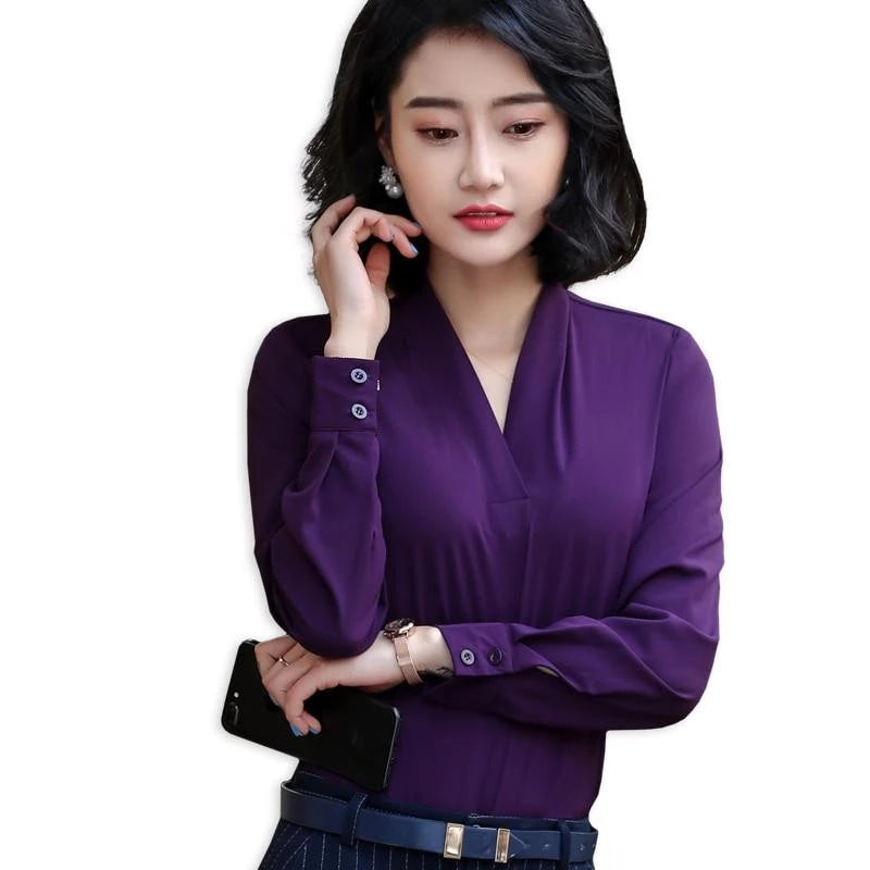 7357817f197 Lenshin V-neck Chiffon Shirt Women Pullover Blouse Elegant Tops Female Long  Sleeve Office Lady ...