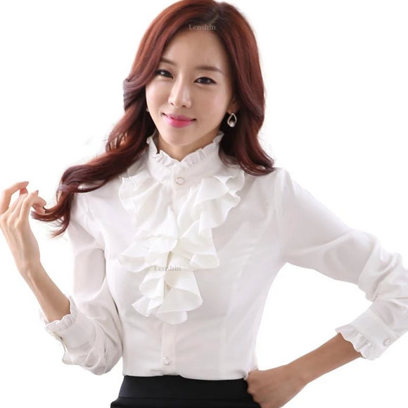 Elegant Long Sleeve White Ruffled Office Blouse - little-darling-fashion-online