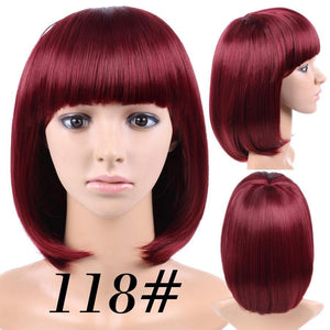 Lesson African American Bob Wigs Short Straight Wigs For Black Women Shoulder Length Heat Resistant Synthetic Black Brown Blonde