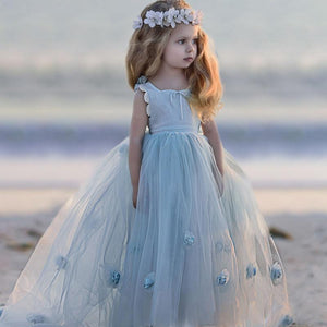 Light Blue Lace Flower Girls Dresses