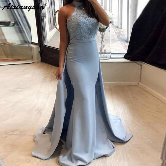 Light Blue Muslim Evening Dresses 2019