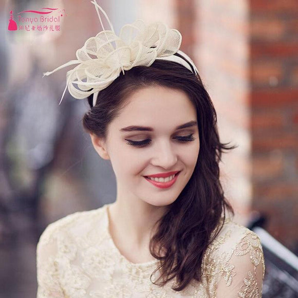 Light Champagne Bridal Hat Fashion boda Wedding Accessories wedding hats and fascinators women Party headWear ZH009 - little-darling-fashion-online